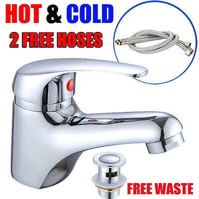 Waterfall Bathroom Taps Basin Sink Mixer Tap Counter Top Chrome Mono Fauce+Waste • 21.74£