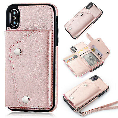AU19.31 • Buy For IPhone 11 XS 8 7Plus Wallet Case Leather With Credit Card Holder Stand Cover
