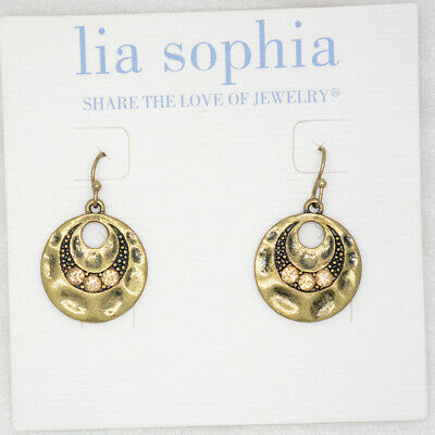 $ CDN10.68 • Buy Lia Sophia Jewelry Antique Gold Tone Cut Crystals Circle Hammered Hoop Earrings