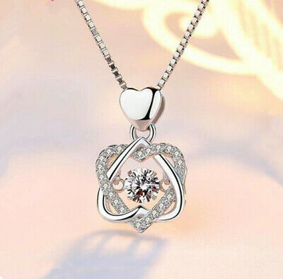 Heart Twisted Crystal Pendant 925 Sterling Silver Necklace Womens Jewellery Gift • 3.49£