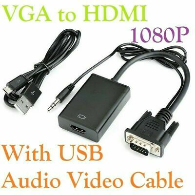 VGA To HDMI Converter 1080P HD Adapter Audio Cable For HDTV PC Laptop TV UK/ • 5.98£