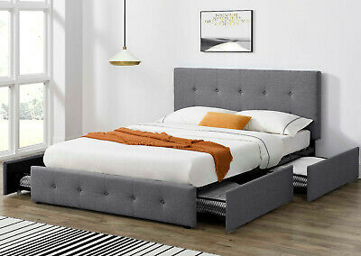 $349.99 • Buy Queen Platform Storage Bed Frame With 4 Drawers Fabric Upholstery & Wood Slats