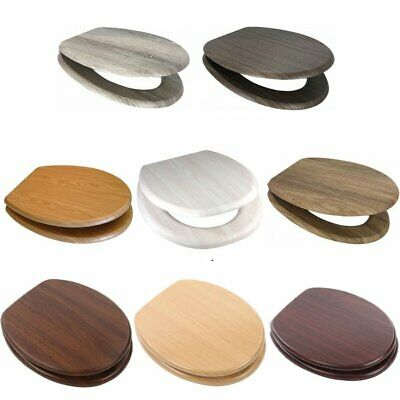 Euroshowers Wooden MDF Toilet Seats With Chrome Bar Hinge • 32.95£