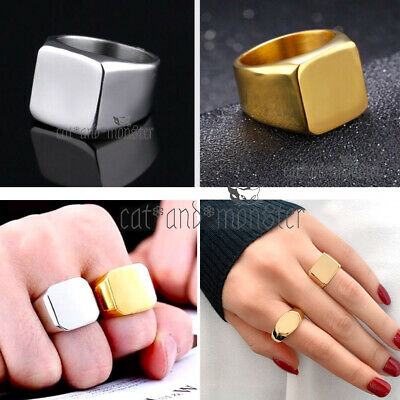 AU13.74 • Buy 18k Gold Gf Mens Ladies Chunky Square Flat Top Biker Style Signet Wedding Ring