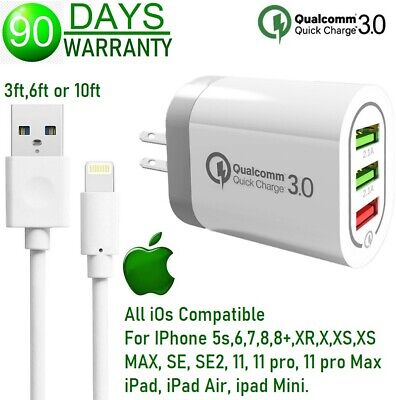 $ CDN12.49 • Buy 18W 3-USB Fast Wall Charger Qualcomm QC 3.0 Cube For IPhone 8,X,XR,XS,XS MAX,11