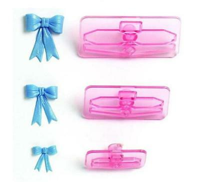 3pcs Bow Bowknot Cake Icing Decor Mould Cookie Cutter Chocolate Fondant Mold YU • 2.25£