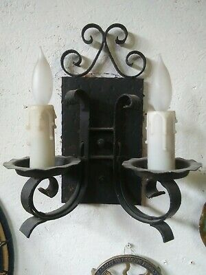 Antique Original 1920's Wrought Iron Electric Wall Sconce Double Candle  • 90.83£