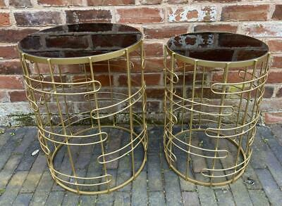 Nest Group Of 2 Side Tables - Gold Metal & Smoked Glass Top - Contemporary Style • 149£