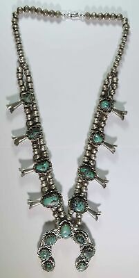 $ CDN1522.43 • Buy Vintage Old Pawn Native Navajo Sterling Silver Turquoise Squash Blossom Necklace