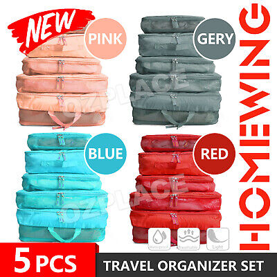 AU8.95 • Buy 5pcs Packing Cube Pouch Suitcase Clothes Storage Bags Travel Luggage Organiser