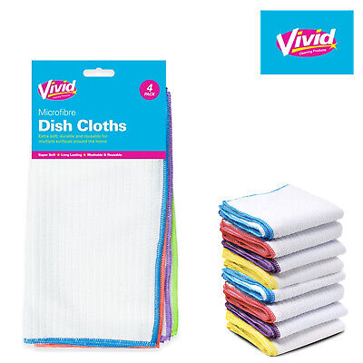 £2.99 • Buy 4PK MICROFIBRE CLEANING CLOTHS Kitchen Clean Dish Tea Towels Drying Home UK