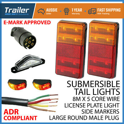 AU52.95 • Buy Led Trailer Submersible Tail Lights Kit-plug,number Plate Light,5 Core Wire Boat