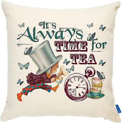Alice In Wonderland Cushion Cover Mad Hatter Vintage Home Decor Birthday Gift • 9.95£