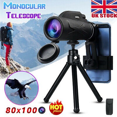 High Power 80x100 HD Monocular Telescope Night Vision Outdoor+ Phone Clip Tripod • 16.49£