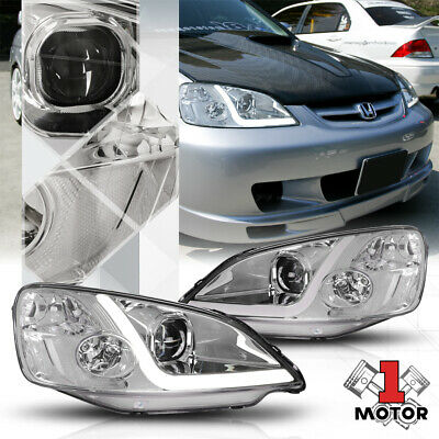 $152.88 • Buy Chrome Projector Headlight LED BAR DRL Clear Signal For 01-03 Honda Civic 2/4Dr
