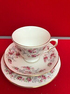 Vintage Royal Osborne Bone China Trio Pink Roses Gold Trim • 3.50£