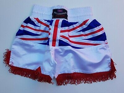 Boxing Shorts Polyester Satin With Union Jack Flag To Clear With Light Red Shade • 7.99£