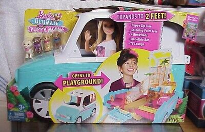 $59 • Buy Barbie Ultimate Puppy Mobile Rv Van Opens To Playground 4 Puppies  2015 Nib