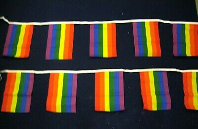 RAINBOW POLYESTER BUNTING - 3m (10ft)  - 10 Flags Each  9  X 6   • 4.99£