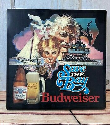 $ CDN131.81 • Buy 1986 BUDWEISER Save The Bay Lighted Sign Maryland Chesapeake Crabs