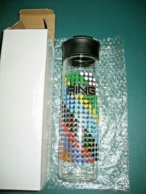 PING GOLF BALL GLASS WATER BOTTLE- GOLF BALL DISPLAY-  PAINTED LABEL-  W/BOX • 64.29£