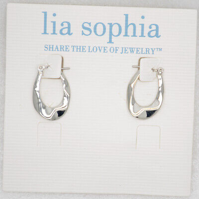 $ CDN9.67 • Buy Lia Sophia Women Jewelry Cute Silver Plated Small Hoop Earrings Pierced Polished