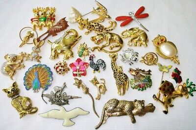 $ CDN69 • Buy VINTAGE FIGURAL ANIMAL BROOCH PIN JEWELRY LOT Birds Cat Insect JELLY BELLY 30pcs