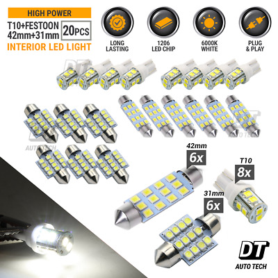$9.99 • Buy 20X White LED Light Interior Package Kit For T10 & 31mm Map Dome + License Plate