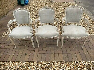 Louis XV1 (16th) Style White French Antique Linen Carver Dining Chair (4 Avail) • 400£