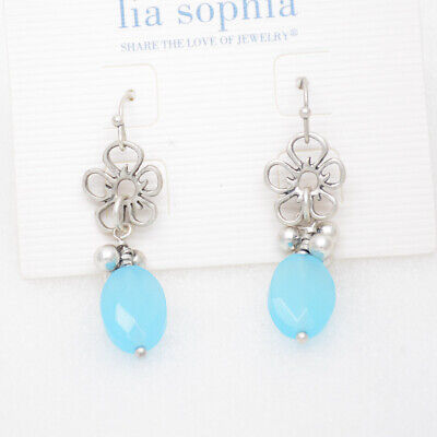 $ CDN10.37 • Buy Lia Sophia Jewelry Antique Silver Plated Blue Beads Flower Drop Dangle Earrings
