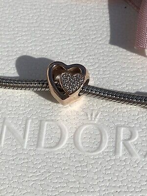 Genuine Pandora Rose Gold Double Heart Charm- Good Condition • 0.99£