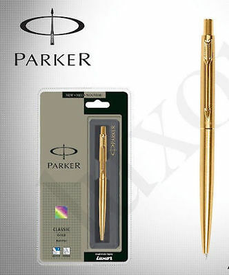 Parker Classic Gold GT Gold Trim Fine Point Ball Pen - Blue Ink - New In Box • 9.99£