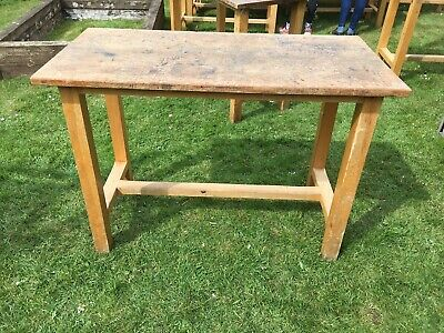 1960s Science Lab Bench Table Iroko Beech • 125£