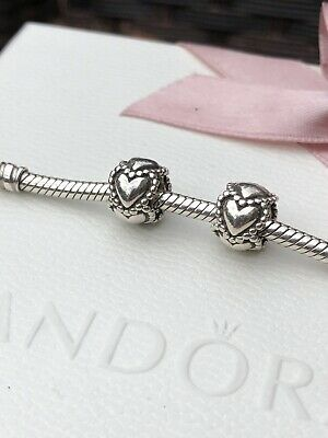 Genuine Pandora Silver Pair Of Beaded Heart Spacer Charms - Good Condition • 0.99£
