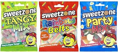 Halal Sweets Sweetzone Hmc Mini Bags 90g Tangy Mix Party Mix Rainbow Belts • 2.59£