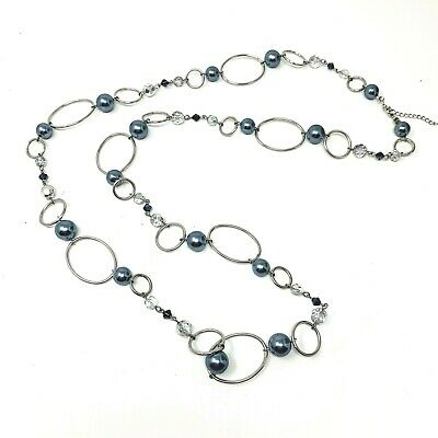 $ CDN28.84 • Buy LIA SOPHIA Necklace Alpine Cut Crystal Gray Faux Pearl Long Beaded  46-49in