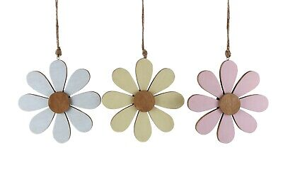 Large Wooden Hanging Flowers Yellow Pink Blue Decoration Home • 4.29£