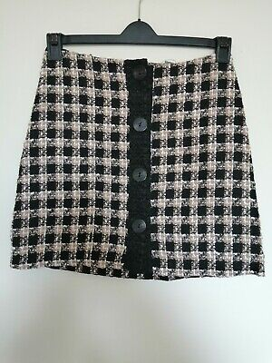 Primark Knitted Short Straight Skirt. Check Pattern With Big Buttons.  • 4.99£