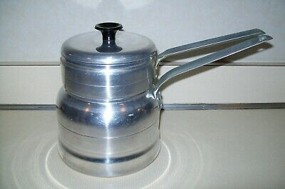 $9.99 • Buy Vintage Comet Aluminum  USA 3 Pc. Lightweight Double Boiler Stovetop Camping Pan
