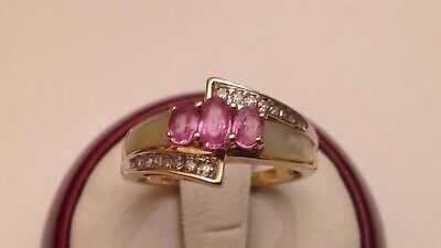 $175 • Buy 14k Yellow Gold Pink Sapphire Mother Pearl Inlay Diamond Ring Size 7 1/4  3.8 Gm