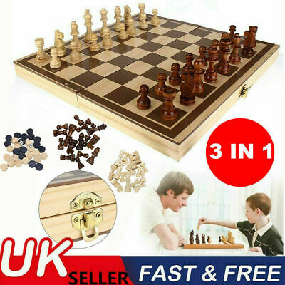 £10.29 • Buy 3in1 Large FOLDING WOODEN CHESS SET Board Game Checkers Backgammon Draughts Toy