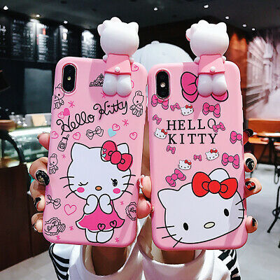 AU7.99 • Buy Cute Cartoon 3D Kitty Doll Pendant  Stand + Strap Case Cover For Various Phone