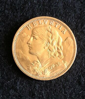$345 • Buy 1927 Switzerland 20 Francs Gold Swiss Miss Coin