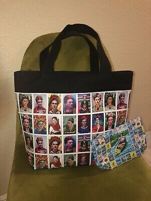 $15.99 • Buy Frida Kahlo Print Tote Bag Purse With Bonus Loteria Accessory Bag - Beautiful!