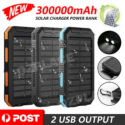 AU19.95 • Buy Portable 300000mAh Power Bank Solar Panel Dual USB External Battery Pack Charger