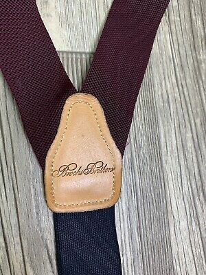 $24 • Buy Brooks Brothers Button Suspenders Braces Navy Blue Maroon Made In England