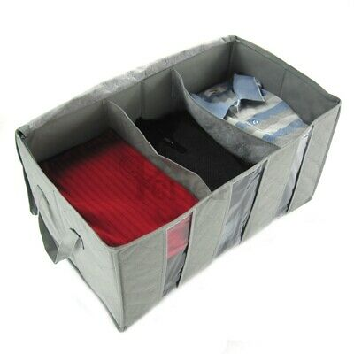 Periea Jumbo Clothes & Bedding Home Storage Box With 3 Compartments - Grey • 5.99£