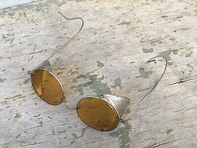 $119 • Buy Antique Amber Willson Goggles Sunglasses Spectacles Vtg Steampunk Safety Glasses