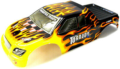 08304 1/8 Scale RC Nitro Monster Truck Body Shell Cover Black Flame Cut • 20.99£