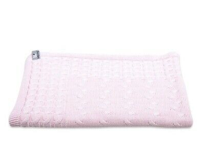 £22.99 • Buy Baby Girls Pink Classic Cable Knit 'Baby's Only' Cot Blanket Throw 100x135cm 0.7